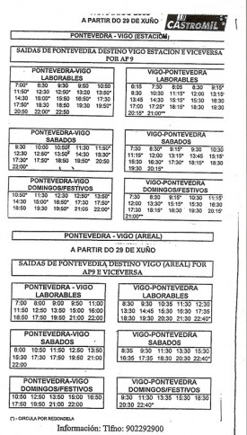 Horarios de Pontevedra-Vigo