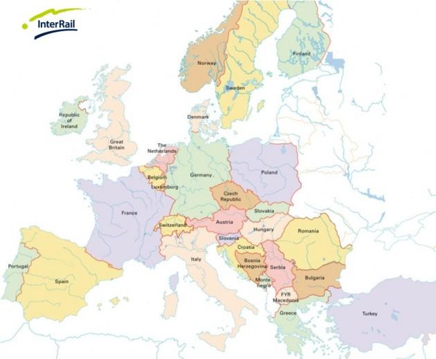 mapa interrail